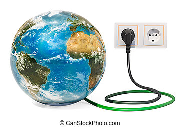 Earth Globe with power plug into electrical socket. Green energy concept. 3D rendering