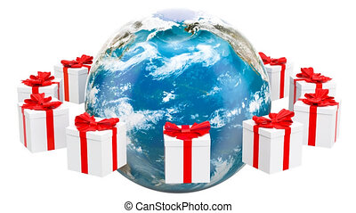 Earth Globe with presents rotating around. Global Christmas...