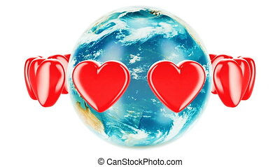 Earth globe with red hearts around, animation concept. 3D rendering