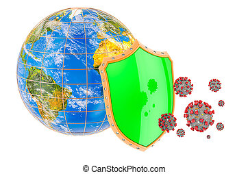 Earth Globe with shield. Protection of Earth Globe from coronavirus. 3D rendering