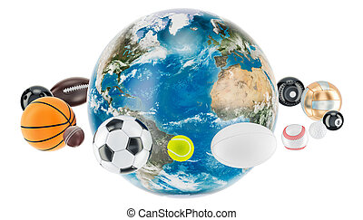 Earth Globe with sport balls around. 3D rendering