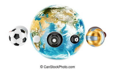 Earth Globe with sport balls around animation concept, 3D rendering  isolated on white background
