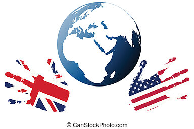 Uk Globe Illustration Of A Union Jack Flag Of Great Britain - Map of us and uk