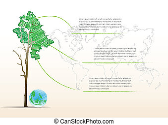 Earth globe with tree,ecology