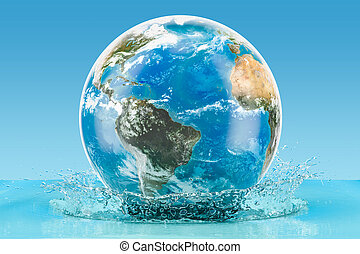Earth Globe with water splash on the blue background, 3D rendering