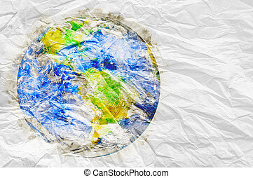 earth globe with watercolor texture on crumpled paper Ecology concept