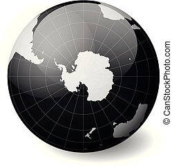 Earth globe with white world map and black seas and oceans focused on Antarctica and South Pole. With thin white meridians and parallels. 3D glossy sphere vector illustration