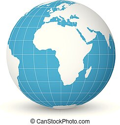 Earth globe with white world map and blue seas and oceans focused on Africa. With thin white meridians and parallels. 3D vector illustration