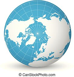 Earth globe with white world map and blue seas and oceans focused on Arctic Ocean and North Pole. With thin white meridians and parallels. 3D vector illustration