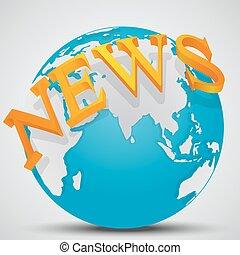 Earth Globe with word News