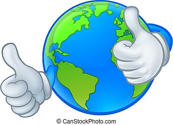 Earth Globe World Cartoon Character Mascot
