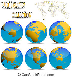 earth globes against white