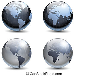 Earth globes collection, vector.