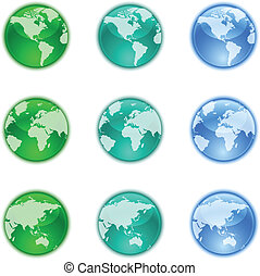 Earth globes set - The collection of different earth globes.