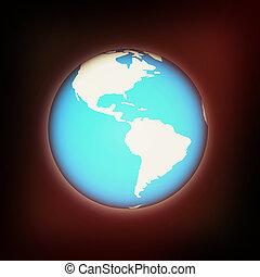 Earth glow. 3D illustration. Vintage style.