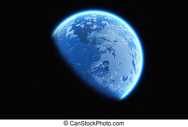 Earth glow - Image of earth glowing in the space. This is a...