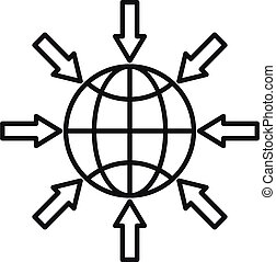 Earth gravity icon, outline style