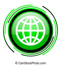 earth green circle glossy icon