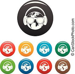 Earth headphones icons set color