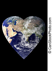 Earth Heart - An image of the earth shaped as a heart. Earth...