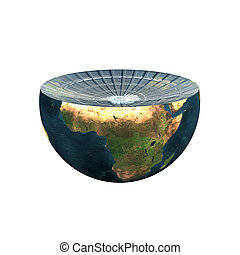 earth hemisphere isolated on white