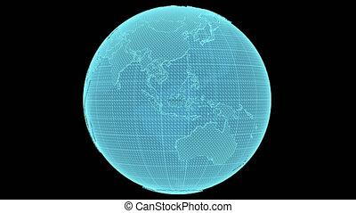 Earth hologram on black background