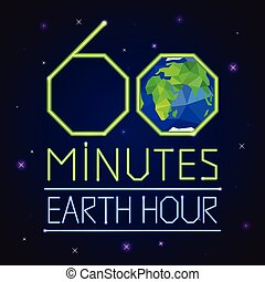 Earth hour card - Earth hour banner or poster neon style. 60...