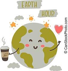 Cute cartoon Earth Day vector illustration