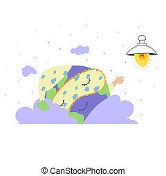 Earth hour, Cute character cartoon game, cartoon illustration. Light vector illustration.
