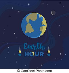 Earth hour day flat color vector illustration