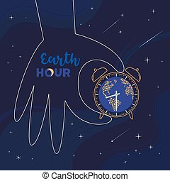 Earth hour day social poster with hand drawn cartoon