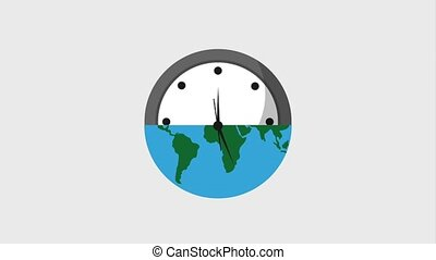 earth hour ecology half planet and clock time