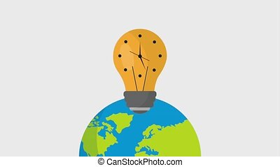 earth hour ecology - planet with light bulb clock