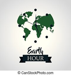 earth hour green planet clock