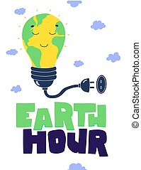 Earth hour hand lettering Flat cartoon vector illustration. Green planet earth vector.