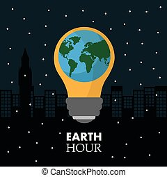 earth hour in the light bulb scene night town