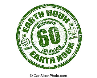 Earth hour stamp - Green grunge rubber stamp with the text...