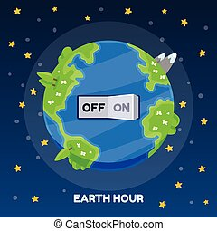 Earth hour with switch turn off on vector cartoon illustration