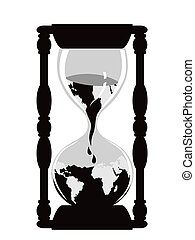 earth hourglass - isolated earth hour watch on white ...