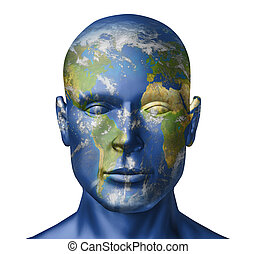 Earth human face - Humanity on earth representing the...