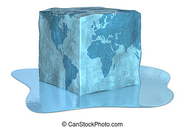 earth ice cube - melting ice cube with the earth map,...