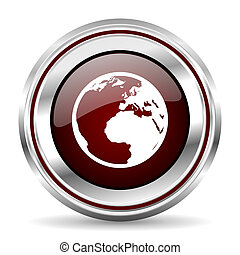earth icon chrome border round web button silver metallic pushbutton