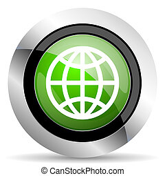 earth icon, green button