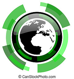 earth icon, green modern design isolated button, web and mobile app design illustration