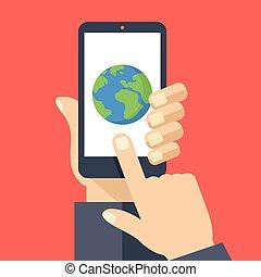 Earth icon on smartphone screen