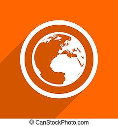 earth icon. Orange flat button. Web and mobile app design illustration