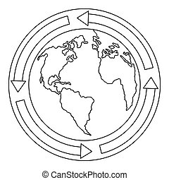Earth icon, outline style.