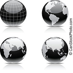 Earth icon set. - Glossy globe icons. Vector illustration.