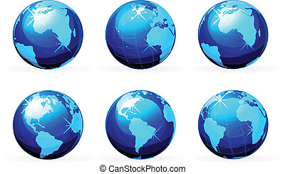 earth icon set isolated on white background