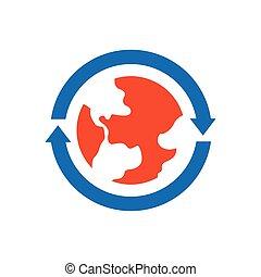 Earth Icon vector blue and orange